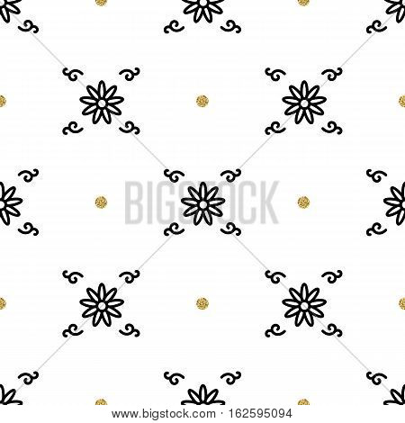 Trendy floral pattern, interpretation of the ethnic ornament. Gold and black elements on a white background. Asian motifs seamless wallpaper. Business ornament in minimalist style, Vector Eps 10