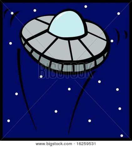 ufo ship flying in the outer space