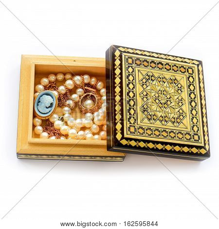 Carved Wooden Box With Gold Jewelry