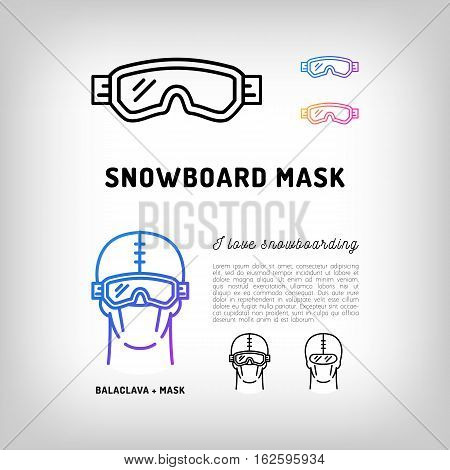 Snowboard mask, goggles, hockey and ski mask. Winter sport face equipment, sportswear. Black and color thin line icons. Vector illustration