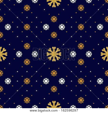 Vector snowflake seamless pattern. Winter holiday repeat snowflake background, Textile pattern sportswear and winter clothing. Trendy icons thin line golden snowflakes on a dark blue background