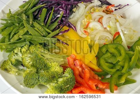 Bright Colorful Uncooked Vegetarian Ingredients Of Chop Suey