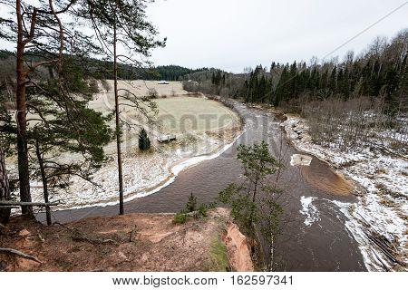 Frozen River In Winter