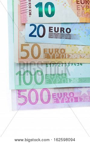 various euro notes on white background. Euro money bank for your budget to investment.