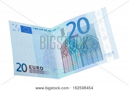 twenty euro banknotes isolated. Euro money bank for your budget to investment.