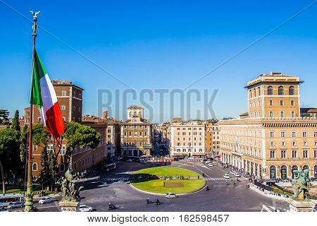 Rome Italy - October 31 2016 - Turist in Piazza Venezia view from the monument to Vittorio Emanuele the central hub of Rome Italy
