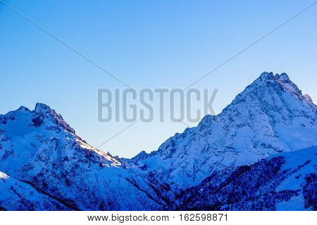 mountain tops, view of snow slopes, winter landscape, North Caucasus