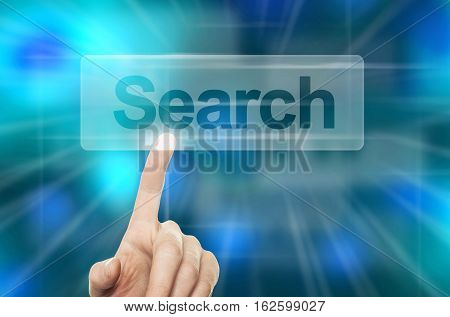WWW Searching Concept. Hand Pressing Search Button in Virtual Web Browser on Blue Background