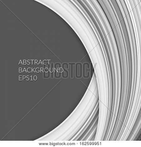 Abstract Pattern With A Plurality Of Curved Lines On A Dark Gray Background.