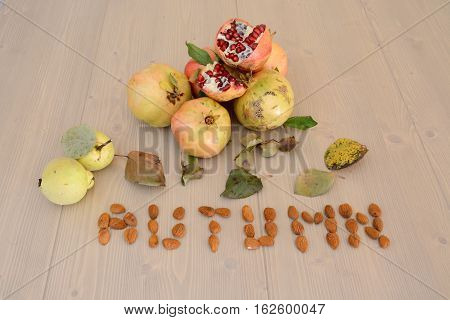 Autumn fruits.Top view table with autumn fruits