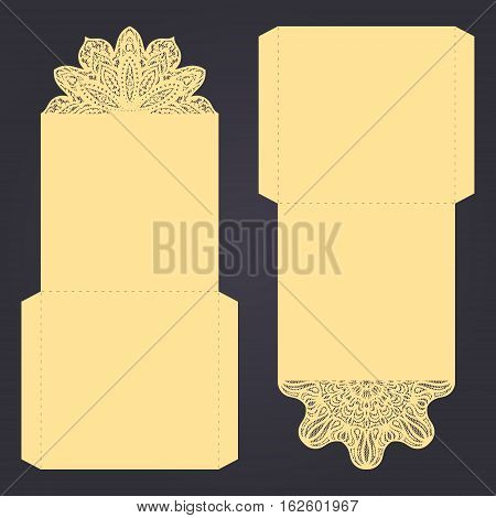 Abstract Wedding Cutout Invitation Template. Suitable For Lasercutting. Lace Folds.