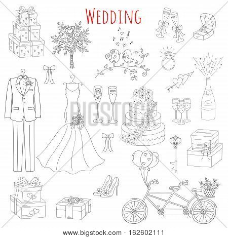 Vector set of hand drawn wedding icons bride, dress, groom, wedding cake, bicycle, bouquet, champagne, ring, gift box, birdcage isolated doodle sketch illustrations.
