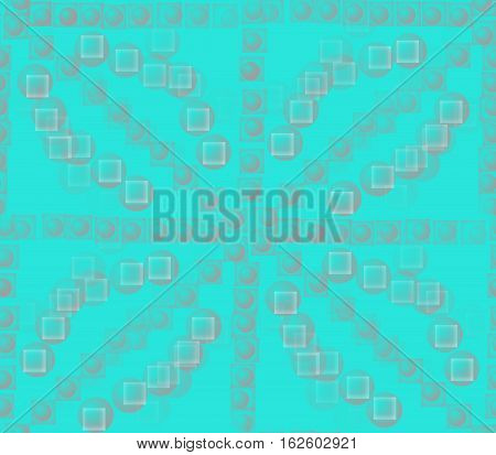 Abstract seamless background on blue divorced surface smooth convex and blue, black and gray balls and circles and dots