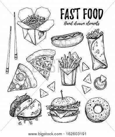 Hand Drawn Vector Illustration - Fast Food (hot Dog, Hamburger, French Fries, Pizza, Wok, Donut, Tac