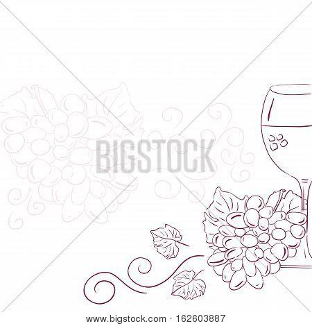 Wine with grape vector illustration. Line art grape wine