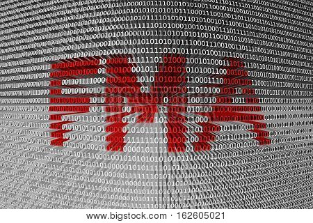 FMA in the form of binary code, 3D illustration