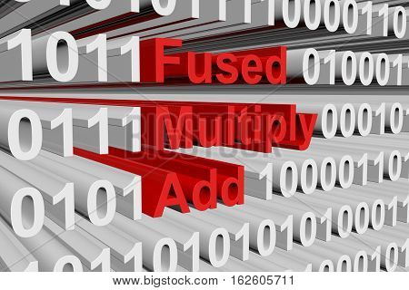 Fused Multiply Add as binary code 3D illustration