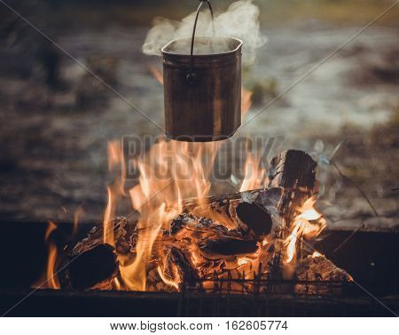 field kitchen, camping, cooking on fire, Arkhangelsk oblast, Russia