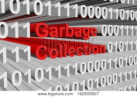 garbage collection in the form of binary code, 3D illustration
