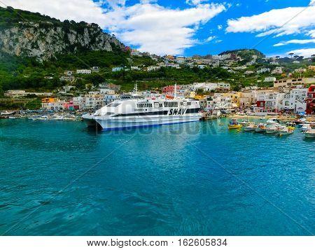 Capri, Italy - May 04, 2014: Marina Grande on the Island of Capri, Italy on May 04, 2014