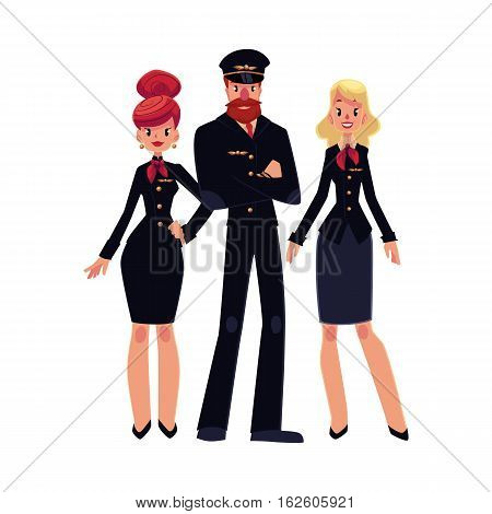 Full length portraits of bearded airline pilot and two flight attendants, stewardess in black uniform, cartoon vector illustration isolated on white background. Pilot and two beautiful stewardess