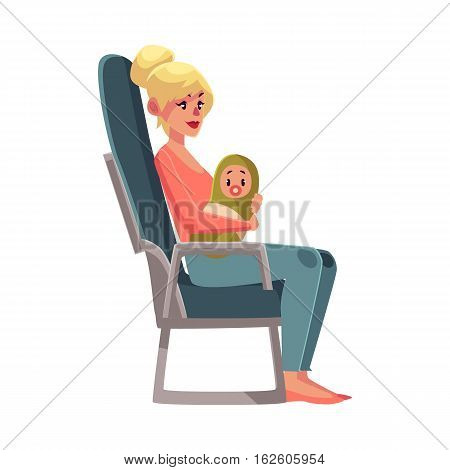 Young beautiful blond woman in airplane seat, economy class, holding little baby, cartoon vector illustration on white background. Woman passenger with a baby in economy class airplane seat, side view