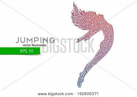 Silhouette of a jumping girl from triangles. Text and background on a separate layer, color can be changed in one click.