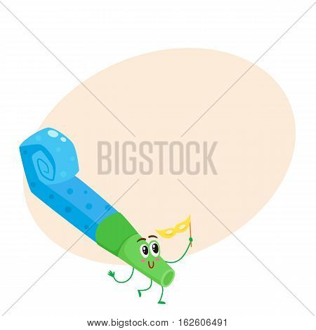 Birthday whistle, party blower funny character, cartoon vector illustrationon background with place for text. Cute and funny birthday whistle, paper noise maker, party blower with eyes and smile