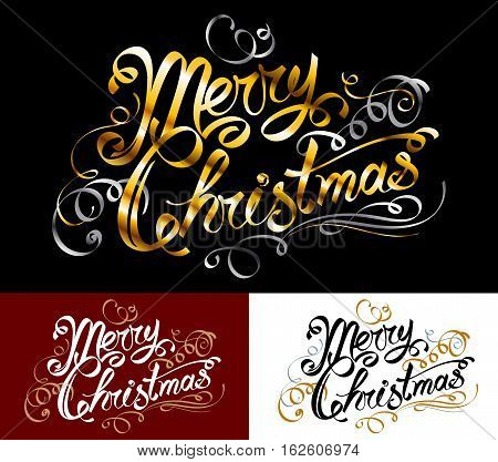 Merry Christmas text; Congratulatory inscription; Hand-drawn ink words; Lettering in old vintage design with vignettes, monograms and decorations; Golden ribbons; Vector set of greeting phrase Eps8
