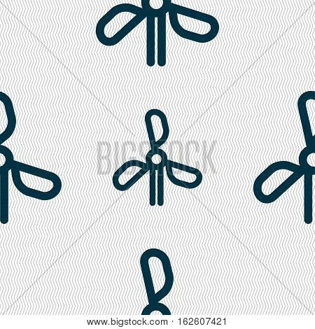 Wind Turbine Icon Sign. Seamless Pattern With Geometric Texture. Vector