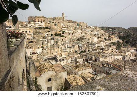 Matera city in south Italy from high