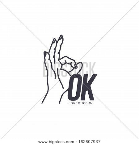 Outline of hand showing OK sign logo template, vector illustration isolated on white background. Black and white OK sign, corporate logo design with a contour of human hand