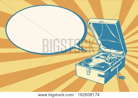 Musical retro turntable, pop art retro vector illustration