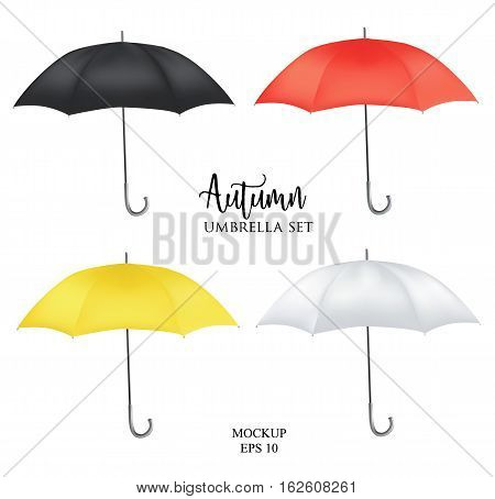 Vector parasol rain umbrella, Sunshade set. Red, yellow white black colored .Blank Classic Opened Round Mock up isolated .Side View.illustration object for advertising, poster, banner print design.