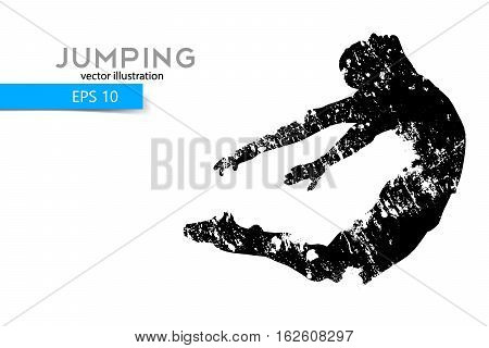 Silhouette of a jumping man. Text on a separate layer, color can be changed in one click.