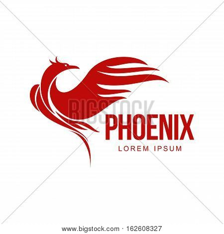 Stylized graphic phoenix bird resurrecting in flame logo template, vector illustration isolated on white background. Phoenix in fire logotype template, revival, rebirth, resurrection concept poster