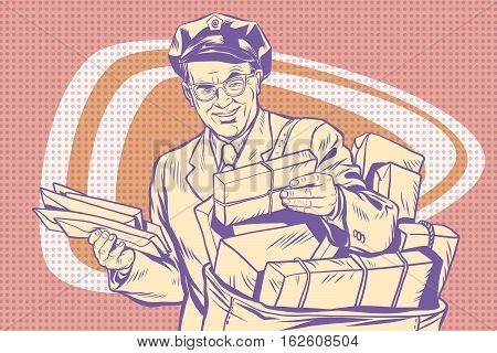 retro postman, delivering letters, pop art retro vector illustration