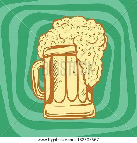 mug of foamy beer, pop art retro vector illustration