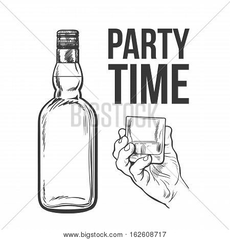 Whiskey bottle and hand holding full shot glass, sketch style vector illustration isolated. black and white hand drawing of an unlabeled, unopened whiskey bottle, party time concept for posters, postcards