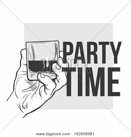 Hand holding full glass of whiskey, sketch style vector illustration isolated on white background. Hand drawing of a male hand with a shot of rum, whiskey, cognac, party time concept