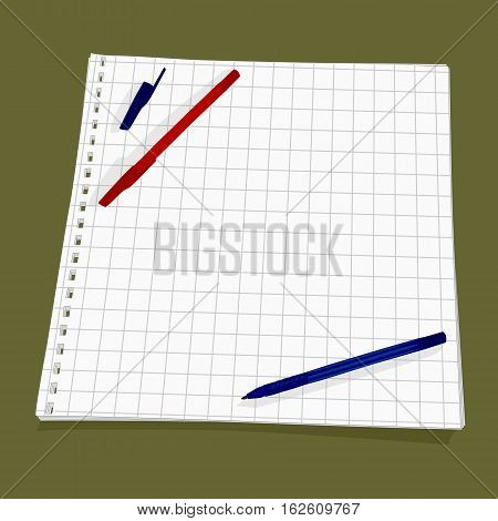 Vector background. Leaf from a notebook into a cell. Two pens lie on a perforated sheet of paper.