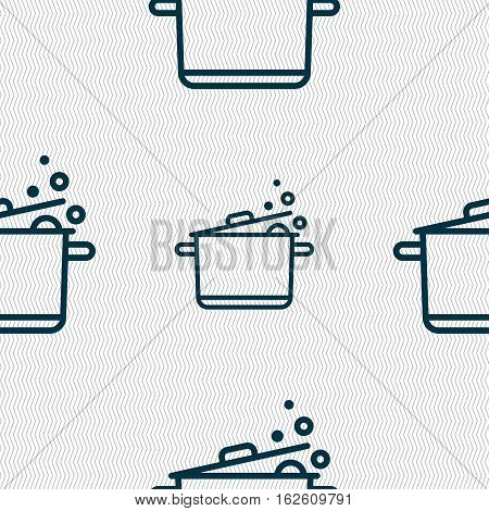 Pot Icon Sign. Seamless Pattern With Geometric Texture. Vector