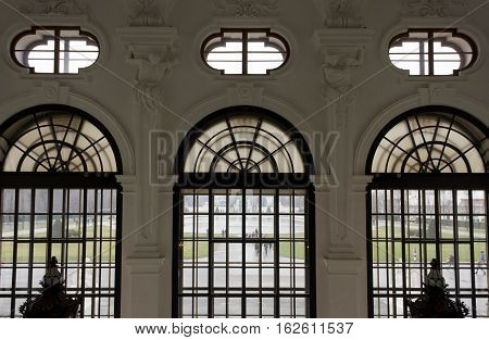 VIENNA, AUSTRIA - JANUARY 1 2016: Architectural close up from inside of the windows of Shloss Belvedere in Vienna