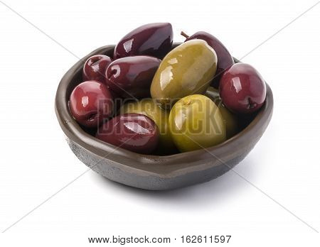 olives into bowls isolated on white background