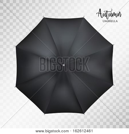 Vector classic black round Rain umbrella top view Blank Opened Parasol Sunshade Mock up on light grey transparent Background. Top Side View graphic Element for advertising, poster, banner print design