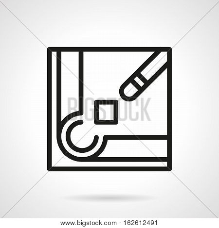Abstract symbol of billiard cue and chalk block near a corner hole. Billiards equipment and accessories. Sport, hobby and active leisure. Black simple line style vector icon.
