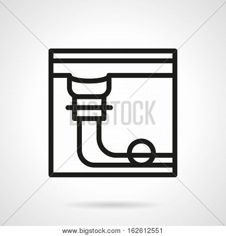 Abstract structure of pool table a side view - pocket with single ball. Billiard game. Sport equipment. Black simple line style vector icon.