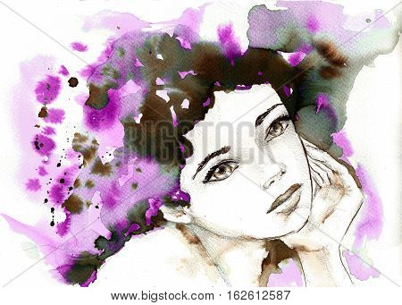 watercolor hand painted portrait of a girl.  Expressive look. Ink splatters