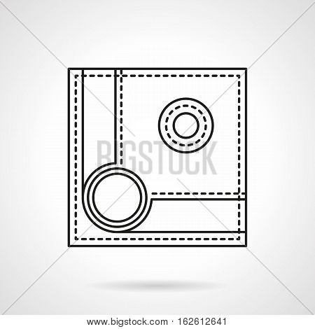 Play billiard symbol. Spotted ball near a corner pocket on a table. Pool, snooker, american or other game. Equipment for active leisure. Flat black line vector icon.