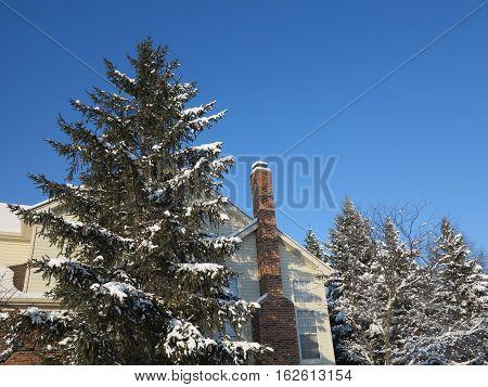 Winter time along Seaver Lane if Hoffman Estates, Illinois